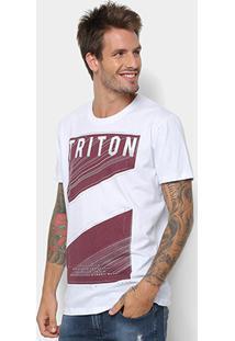 Camiseta Triton Estampada Masculina - Masculino-Branco