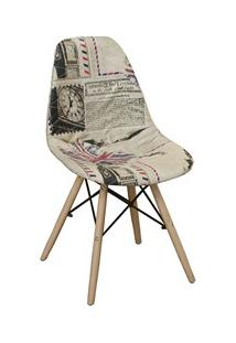 Cadeira Eiffel Charles Eames Estofada Londres Bege F01 Base Madeira -