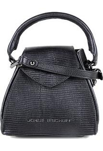 Bolsa Couro Jorge Bischoff Mini Bag Com Textura Feminina - Feminino-Preto