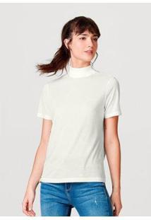 Blusa Básica Hering Em Liocel Gola Alta Oversized Feminina - Feminino-Off White