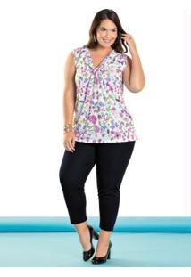 Conjunto Blusa E Calça Capri Plus Size Floral