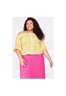 Blusa Almaria Plus Size Tal Qual Ombro A Ombro Estampada Amarelo