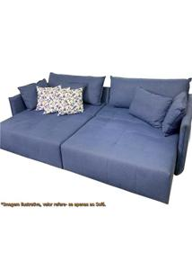 Sofa Cine Azul Retratil Base Madeira Natural 2,56 Mt (Larg) - 51084 - Sun House