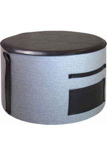 Puff Will Estofado Couro Sintético Pu E Lona Design Industrial E Minimalista