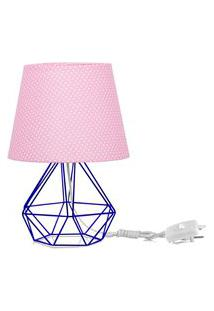 Abajur Diamante Dome Rosa/Bolinha Com Aramado Azul