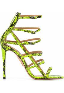 Aquazzura Sandália Com Efeito Pele De Cobra - Verde