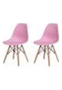 Kit 2 Cadeiras Charles Eames Eiffel Rosa Claro Base Madeira Sala Cozinha Jantar