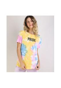 Blusa Feminina Pride Estampada Tie Dye Manga Curta Decote Redondo Amarela