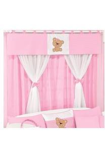 Cortina Dupla Padroeira Baby Ursa Carinho - Rosa