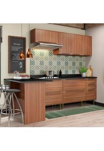 Cozinha Compacta Com Tampo 7 Portas 5455 Nogueira - Multimóveis