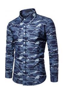 Camisa Masculina Slim Estampa Camuflada Manga Longa - Azul Escuro