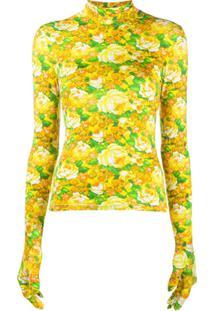 Vetements Blusa Com Estampa Floral - Amarelo
