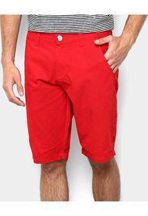 Bermuda Sarja Zamany Color Bolso Faca Masculina - Masculino-Vermelho