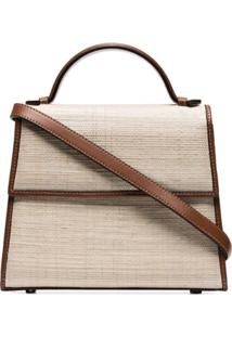 Hunting Season Brown And Neutral Top Handle Straw And Leather Bag - Marrom