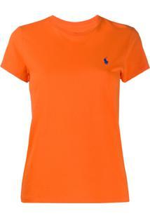 Polo Ralph Lauren Camiseta Decote Careca Com Logo Bordado - Laranja