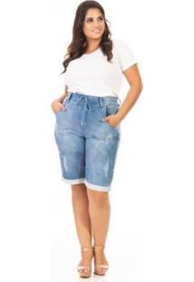 Bermuda Jeans Jogger Plus Size Confidencial Extra Feminina - Feminino-Azul
