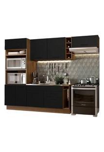Cozinha Completa Madesa Agata 290002 Com Armário E Balcão (Sem Tampo E Pia) Rustic/Preto Cor:Rustic/Preto