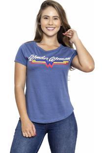 Camiseta Sideway Mulher Maravilha Logo - Azul - Azul - Feminino - Dafiti