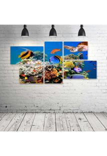 Quadro Decorativo - Underwater-World-Fish-Turtles-Corals - Composto De 5 Quadros