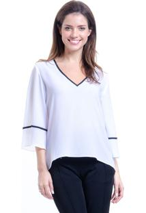 Blusa 101 Resort Wear Decote V Boho Cropped Crepe Branco Preto