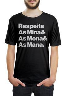 Camiseta Hunter Respeite As Mina, Mona E Mana Preta