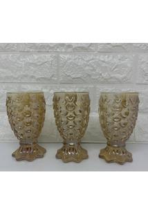 Jogo De Três Taças De Vidro Abacaxi Na Cor Âmbar Com Brilho