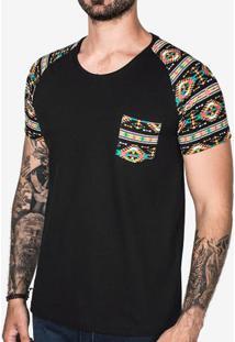 Camiseta Raglan Étnica Preta 102822