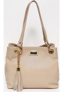 Bolsa Em Couro Com Bag Charm- Nude & Dourada- 24X32Xanette