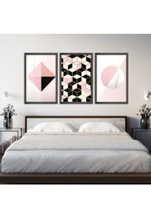 Quadro 60X120Cm Abstrato Escandinavo Coloridos Geométrico Triangulos Moldura Preta Sem Vidro - Mod: Oh5712