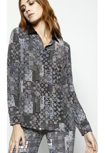 943046a954 ... Camisa Floral Com Geométrica Em Seda - Preta   Azul Pastversace