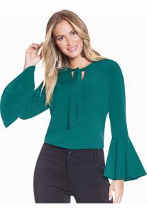 Blusa Feminina Verde Gola Laço