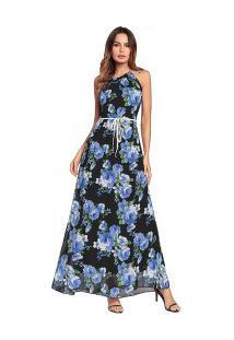 d5ec1896ce ... Vestido Longo Estampa De Rosas Gola Alta Sem Mangas - Azul