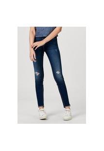 Calça Jeans Skinny Feminina Destroyed