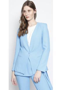 Blazer Texturizado Com Bolsos - Azul Clarocorporeum