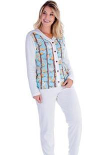 Pijama Victory Feminino Inverno Longo Aberto - Feminino-Branco