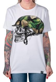 Camiseta Artseries Caveira Capacete Militar Feminina - Feminino-Branco