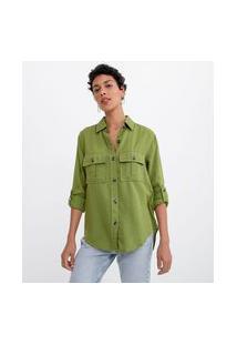 Camisa Manga Longa Lisa Com Botões Tartaruga E Bolsos   Marfinno   Verde   Pp