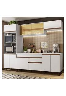 Cozinha Completa Madesa Reims 260002 Com Armário E Balcão Branco Branco