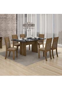 Conjunto De Mesa De Jantar Florença Com 6 Cadeiras Havai Veludo Ype Preto
