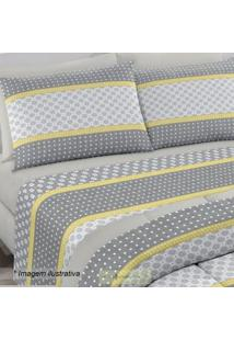 Edredom Royal Plus Solteiro- Cinza & Amarelo- 150X22Santista
