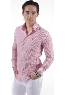 Camisa Social Listrada Masculina - Slim - Masculino-Rosa