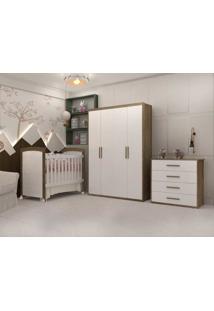 Dormitório Melissa Guarda Roupa 4 Portas Cômoda 4 Gavetas E Berço Cléo Branco/Amadeirado Carolina Baby