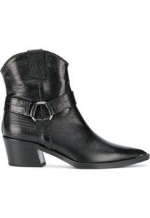 Via Roma 15 Ankle Boot Com Textura - Preto