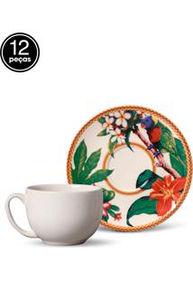 Conjunto 12Pçs Xícaras De Chá Porto Brasil Coup Amazônia Branco