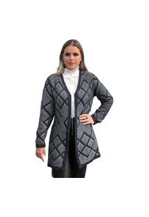 Casaco Tricot Ingrid Feminino Shopping Do Tricô Lã Cardigan