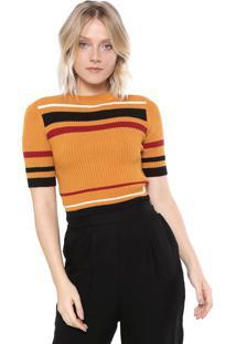 Blusa Cropped Osklen Tricot Stripes Amarela