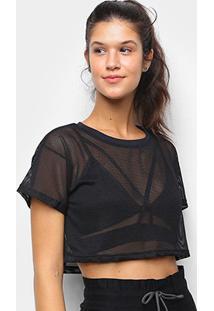 Camiseta Cropped Tricats Bykker Tela Feminina - Feminino-Preto