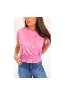 Camiseta Em Viscolycra Com Lastex Na Cintura - Rosa