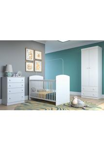 Quarto De Bebê Completo C/ Guarda Roupa Cômoda E Berço 2749 Sol- Multimoveis - Branco Premium