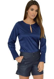 Camisa Mamorena Botão Decote E Punho Com Pregas Azul Marinho